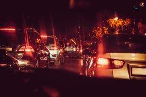 Photo of a Traffic Jam at Night
